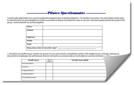 pilates questionaire